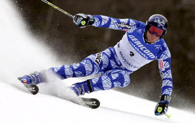 Joel Chenal of France in action in Alpin e Ski World Cup Giant Slalom,he placed third after first round. Kraniska Gora,Slovenja,March,Wendsday,8,2000. (AP Photo/Alessandro Trovati)
